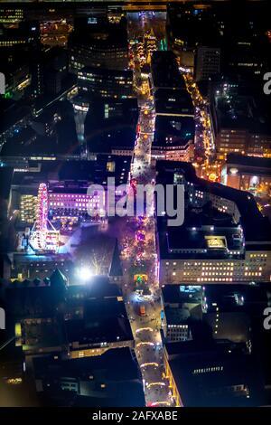 Aerial photo of Essen, pedestrian zone, Kettwiger Straße, shopping street, Essen-Mitte, city centre, Essen, Ruhr area, North Rhine-Westphalia, Germany - Stock Photo