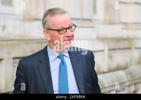 London, UK, 16th Dec 2019, Michael Gove arrives at the Cabinet Office at Whitehall after the first official day since the election. Credit: Uwe Deffner / Alamy Live News - Stock Photo