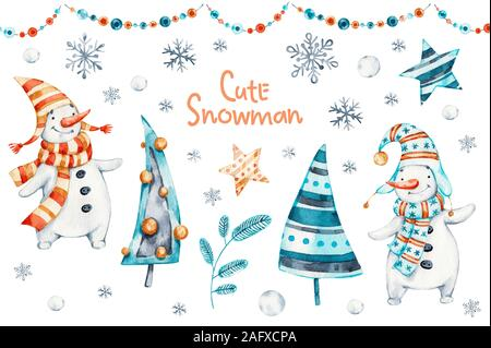 Watercolor merry christmas hand painted set of nursery character snowmans illustration. Handpainted Winter holidays cartoon isolated cute funny snowma - Stock Photo