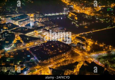 aerial photo, city administration, town hall / city Mülheim an der Ruhr, Ruhrbania an der Ruhr, Mülheim, Ruhr area, North Rhine-Westphalia, Germany, M - Stock Photo