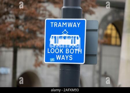 Warning Sign Tramway At Manchester England 2019 - Stock Photo