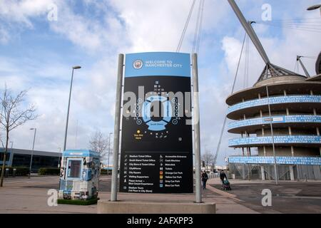 Billboard Welcome The Manchester City Football Club At Manchester England 2019 - Stock Photo