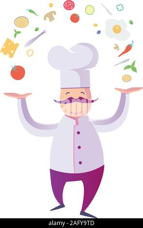 flat Illustration of a Funny Italian Chef with food icon elements