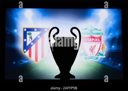 UEFA Champions League 2020, Round of 16 UCL football, Knockout stage, playoff, Official Adidas soccer ball 2020 - Stock Photo