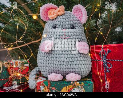 Plush toy, Christmas tree and Christmas decorations - Stock Photo