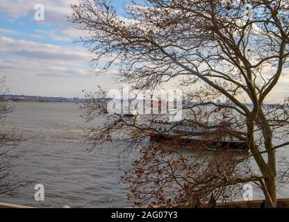 View on the harbor from Ellis island in New York , USA.November,2018. - Stock Photo