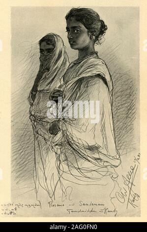 "Rosama and Sandenam, Tamil girls, Kandy, Ceylon, 1898. Portrait of two young women in what is now Sri Lanka. 'Rosama und Sandenam - Tamilmädchen, Kandy'. From ""Rund um die Erde"" [Round the Earth], written and illustrated by C. W. Allers. [Union Deutsche Verlagsgesellschaft, Stuttgart, 1898] - Stock Photo"