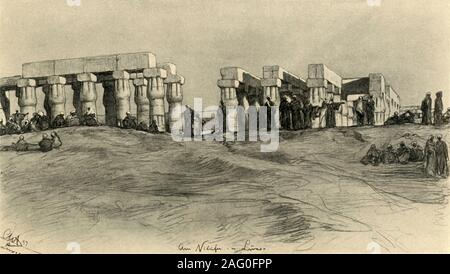 "Temple ruins, Luxor, Egypt, 1898. People sitting on the banks of the River Nile by one of the buildings in the Luxor Temple complex, constructed approximately 1400 BC. 'Am Nilüfer in Luxor'. From ""Rund um die Erde"" [Round the Earth], written and illustrated by C. W. Allers. [Union Deutsche Verlagsgesellschaft, Stuttgart, 1898] - Stock Photo"