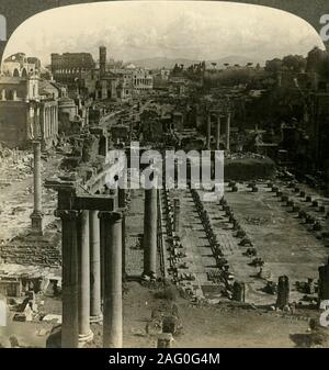 'The Roman Forum, southeast from the Capitol, Rome, Italy', c1909. Plaza surrounded by ruins of important ancient government buildings at the center of the city of Rome. To be viewed on a Sun Sculpture stereoscope made by Underwood & Underwood. [The Rose Stereograph Company, Melbourne, Sydney, Wellington & London, c1909] - Stock Photo