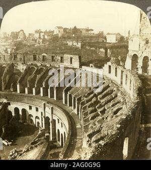 'Palatine hill, southwest from the Colosseum, Rome', c1909. Affluent Romans had residence on Palatine Hill which became the exclusive domain of emperors; seen from the Colosseum, begun under emperor Vespasian in AD 72 and completed in AD 80 under his successor and heir, Titus. To be viewed on a Sun Sculpture stereoscope made by Underwood & Underwood. [The Rose Stereograph Company, Melbourne, Sydney, Wellington & London, c1909] - Stock Photo