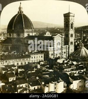 'The Duomo - the heart of Florence, (S.E.) Italy', c1909. Florence Cathedral was begun in 1296 in Gothic style to designs made by Arnolfo di Cambio and was structurally completed by 1436, with the dome designed by Filippo Brunelleschi. As part of the duomo complex it is listed as a UNESCO World Heritage Site. To be viewed on a Sun Sculpture stereoscope made by Underwood & Underwood. [The Rose Stereograph Company, Melbourne, Sydney, Wellington & London, c1909] - Stock Photo