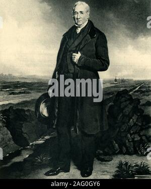 """George Stephenson, c1849, (1945). Portrait of George Stephenson (1781-1848), English mechanical engineer and inventor of the railway engine. After a painting of 1849. From """"British Railways"""", by Arthur Elton. [Collins, London, 1945] - Stock Photo"""