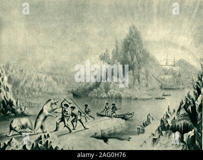 """'A Relief Party in Search of Sir John Franklin', 19th century, (1946). In 1845, John Franklin led a British expedition to find the Northwest Passage. After two years with no news of the expedition, rescuers set out to search for the missing men. Here sailors fight polar bears on Artic ice, with a tall ship in the distance. After a Baxter print, 'The Arctic Expedition in Search of Sir John Franklin', in the National Trust collection at Peckover House, Cambridgeshire. From """"British Polar Explorers"""", by Admiral Sir Edward Evans. [Collins, London, 1946] - Stock Photo"""