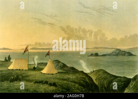 """'View of the Arctic Sea from the Mouth of the Copper Mine River, Midnight, July 1821', (1946). Tents with British flags on the coast of northern Canada, depicted by a member of John Franklin's Coppermine Expedition of 1819-1822. The long hours of daylight during the Arctic summer made it possible to draw in the middle of the night. Illustration from """"Narrative of a Journey to the Shores of the Polar Sea"""" by John Franklin. Published in """"British Polar Explorers"""", by Admiral Sir Edward Evans. [Collins, London, 1946] - Stock Photo"""