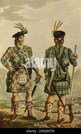 """'Highland Chiefs in the Stewart and Gordon Tartans', 1831, (1946). Full-length study of Scottish chieftans in traditional tartan kilts of the Stewart and Gordon clans. The man on the left wears a sporran, a pouch made of leather or fur. His companion wears a full plaid, draped over the left shoulder and tucked into the belt. Illustration in """"The Scottish Gael"""" by James Logan. [London, 1831]. Published in """"Life Among the Scots"""", by Janet Adam Smith. [Collins, London, 1946] - Stock Photo"""