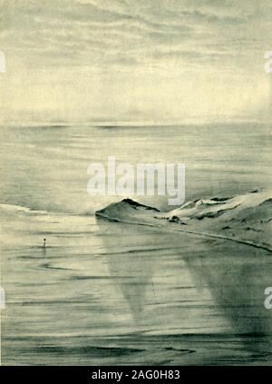 """'Hut Point from Observation Hill', 1911, (1946). View of the coast of Antarctica at Hut Point Peninsula on Ross Island. After a watercolour by Dr Edward Wilson, a member of Robert Falcon Scott's doomed expedition to the South Pole. When Scott's final camp was discovered by a search team in November 1912, Scott's sleeping bag was open and his body partially out of his bag - his left arm was extended across Wilson. From """"British Polar Explorers"""", by Admiral Sir Edward Evans. [Collins, London, 1946] - Stock Photo"""