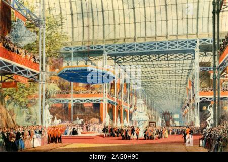 'The Opening of the Great Exhibition by Queen Victoria on May 1st, 1851', (1942). Queen Victoria (1819-1901) opening the Great Exhibition in the purpose-built Crystal Palace in London's Hyde Park. Conceived by her husband Prince Albert, the exhibition was intended to showcase the 'Works of the Industry of all Nations'. The Crystal Palace was the first large-scale prefabricated ferrovitreous (iron and glass) structure, and was designed by the landscape designer, Joseph Paxton. The prefabricated design made the construction, and later dismantling of the building, easier and quicker. There were o - Stock Photo