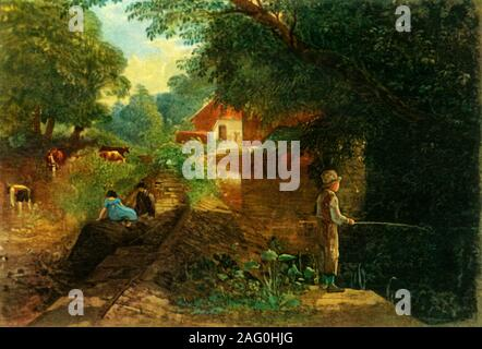 "'A Young Fisherman in Stapleton Glen', early-mid 19th century, (1946). Boy fishing at Stapleton near Bristol. Painting in Bristol Museum & Art Gallery, Bristol. From ""British Anglers' Natural History', by E. G. Boulenger. [Collins, London, 1946] - Stock Photo"