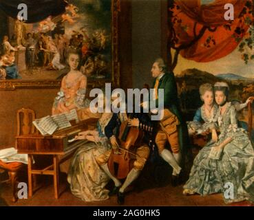 """'The Gore Family with George, third Earl Cowper', c1775, (1942). Portrait of Englsih art collector and patron George Clavering-Cowper, 3rd Earl Cowper  (1738-1789), with Emilie Gore, Elizabeth Gore, Hannah Anne Gore and Charles Gore. 'Gore's daughter, Hannah, is top left, Gore is centre and the aspiring groom is the standing figure on the right'. Cowper married sixteen-year-old Hannah Anne on 2 June 1775. Painting in the Yale Center for British Art, New Haven, Connecticut, USA. From """"English Music', by W. J. Turner. [Collins, London, 1942] - Stock Photo"""