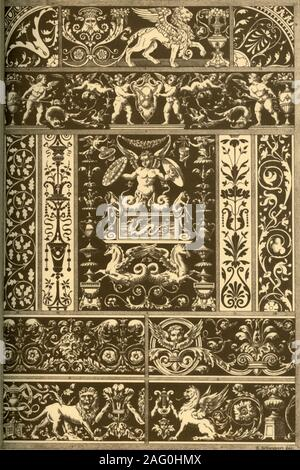 Italian Renaissance sgraffitos, wood-mosaic, marble-mosaic and bas-reliefs, (1898). 'Fig 1: Sgraffito on a house at Rome, Via Giulia Nr. 82. Fig 2: Sgraffito on a house at Rome, Via dei Coronari Nr. 148. Fig 3: Sgraffito on a house at Rome, Vicolo Calabraga Nr. 31 and 32. Fig 4: Sgraffito on a house at Rome, Vigna alla via Porta S. Sebastiano Nr. 27. Fig 5: Sgraffito on a house at Rome, Borgo al vicolo del Campanile Nr. 4. Fig 7: Inlaid marble-Work on the floor of the cathedral at Siena. Figs 8 and 9: Inlaid marble-Work from a tomb-plate in San Giovanni e Paolo at Venice. Fig 10: Inlaid marble - Stock Photo