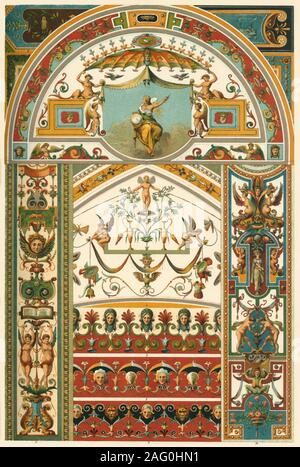"""Italian Renaissance ceiling and wall painting, (1898). 'Fig 1: Tympanum from the Sala Ducale in the Vatican at Rome. Figs 2-5: Details from the Loggie of Raffaelle ibid. Fig 6: Severey above the fountain-hall of the Villa di Papa Giulio at Rome. Figs 7 and 8: Plafond-borders in the same Villa. Figs 9 and 10: Pilaster-panels from a chapel in S. Maria Aracelli at Rome. Fig 11: Arch-panel from the cloister of the monastery S. Maria sopra Minerva at Rome'. Plate 57 from """"The Historic Styles of Ornament"""" translated from the German of H. Dolmetsch. [B.T. Batford, London, 1898] - Stock Photo"""
