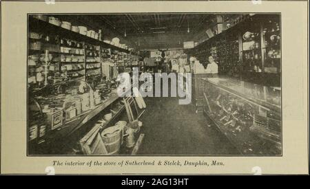 . Hardware merchandising August-October 1912. The exterior of the store of 0. B. Manville, Prince Albert, Sask.—The employees are shown grouped aroundthe entrance—The inset in upper right hand corner is a photograph of Mr. Manville. 102 HARDWARE AND METAL. Large Hardware Store in Gold Camp A Brief Description of the Establishment of Marshall-Eccles-tone, Limited, at Porcupine—Alterations and ImprovementsAre Now Being Made. T T has often been remarked in Hard- This system is used for the display ofware and Metal that the hardware- builders hardware, sporting goods, cut-man is always in the vang - Stock Photo