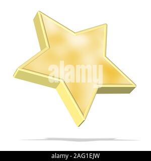 Falling yellow star in front of white background - Stock Photo