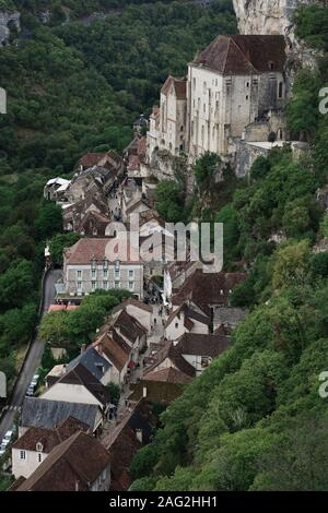 Aerial scenery of Rocamadour, historic Medieval village, with houses built into the side of a cliff in Southern France, Rocamador, Lot. - Stock Photo