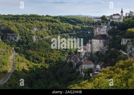 Rocamadour, Medieval French town built into a side of a cliff in Lot, Southwestern France. Rocamador, daytime landscape scenery. South of France trave - Stock Photo