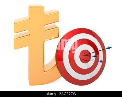 Target with lira symbol, Successful business concept, 3D rendering isolated on white background - Stock Photo