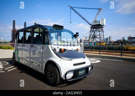 Self driving mini bus at the Brooklyn Navy Yard in New York City. - Stock Photo