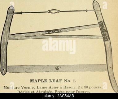 . Le quincaillier (Juillet-Decembre 1905). MAPLE LEAF No. 1. Monture Vernie, Lame Acier k Rasoir, 2 x 30 pouces,R^gl^e et Aiguisde, Prgte pour Iusage. Materiel choisi, Tigede Tension Clipper, Lame Polie, R6gl^eet Aiguis^e, Prfite pour Iusage. DEMANDEZ NOS PRIX LEWIS BROS. Ltd. MONXREAL.. OTTAWA TORONTO a/iiminjif»e:o VANCOUVERCALGARY 44 LE PRIX COURANT METAUXAntimoine lyautimoine est ferme et sans change-ment. On cote actuellement de 14 a 14 l-2c. la lb. Pontes Le marche des fontes est toujours tresferme. Nous cotons a la tonne: Carrom 21.50 22.50 01.aren.ce 19-00 19/50 G-arnbroe ^oc Summerle - Stock Photo