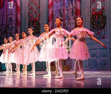 A row of eight beautiful, young ballerinas dressed in tulle and wearing toe shoes during a performance of The Nutcracker, a favorite Christmas ballet. - Stock Photo