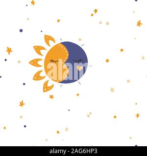 Sun, stars and moon. Vector illustration. Seamless pattern background. - Stock Photo