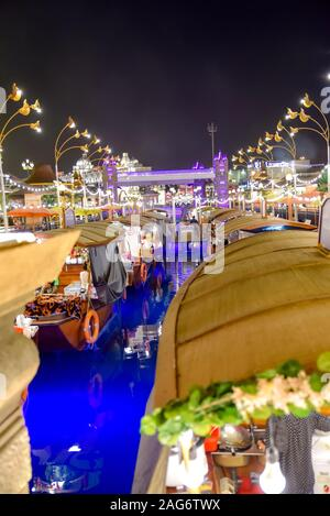 Dubai Global Village, Dubai, United Arab Emirates, December 11, 2019, the view of Floating restaurants and floating Market - Stock Photo