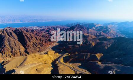 View of the Gulf of Eilat (Gulf of Aqaba) from the Eilat mountains, Israel - Stock Photo