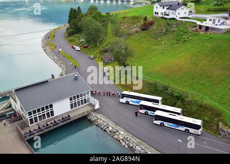 Coaches at the cruise berth in Skjolden, Norway, awaiting passengers from P & O cruise ship Arcadia. - Stock Photo