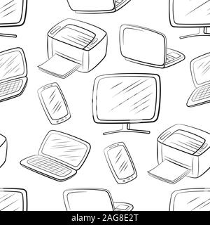 Seamless Pattern, Computer Equipment Icons Monitor, Printer, Laptop and Smartphone. Office Digital Electronics. Black Pictograms Isolated on Tile Whit - Stock Photo