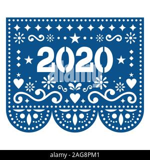 2020 Papel Picado vector design - Mexican style New Year greeting card in Pantone color of the year - Classic Blue - Stock Photo