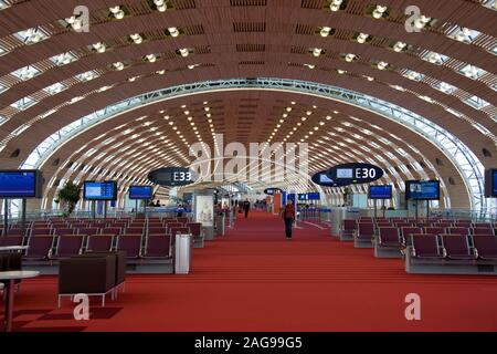 Paris. France. 05.01.08. Aircraft Gates in the Terminal Building of Paris Charles de Gaulle Airport in France. - Stock Photo