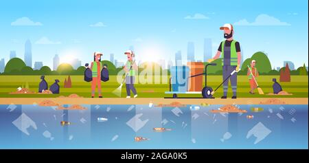 janitors group gathering garbage cleaners team in uniform working together on beach area cleaning service environmental improvement concept public river bank cityscape background horizontal vector illustration - Stock Photo