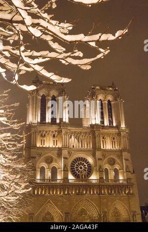 PARIS UNDER SNOW, FRANCE - Stock Photo