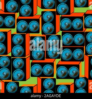 Seamless pattern with blue speakers; blue speakers in orange boxex seamless vector - Stock Photo