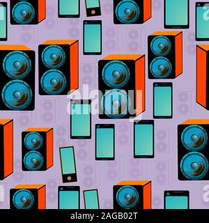 Seamless pattern with speakers and digital tablet design; blue speakers and graphic tablet; - Stock Photo