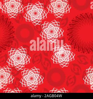 Seamless pattern with white geometric stars on red background; white stylized stars on red background seamless pattern - Stock Photo