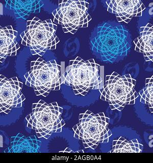 Seamless pattern with blue abstract shapes and white abstract stars, abstract star shape and blue background with abstract nut shape seamless vector - Stock Photo