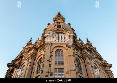 A low angle show of the facade of Frauenkirche (Our Lady's church) in Dresden, Germany, just before sunset.