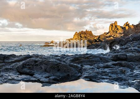 Seascapes along the rocky coastline at Fonsalia on the west coast of Tenerife, Canary Islands, Spain - Stock Photo