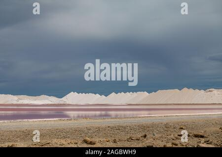 A high angle shot of aesthetic salt pans in  Bonaire, Caribbean - Stock Photo