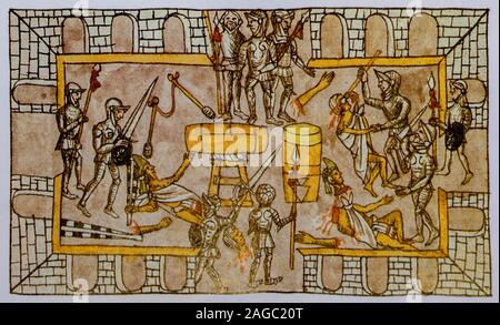 Massacre at the Festival of Toxcatl. Duran Codex or History of the Indies of New Spain. Biblioteca Nacional, Madrid, Spain - Stock Photo